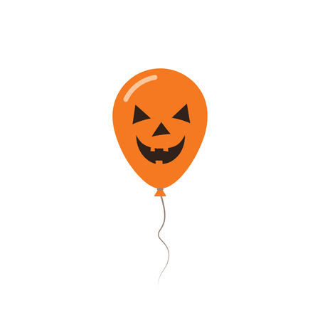 Halloween balloon flat greeting card. Black and orange colored all saints day poster. Vector illustration.