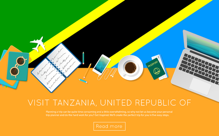 Visit Tanzania, United Republic of concept for your web banner or print materials. Top view of a laptop, sunglasses and coffee cup on Tanzania, United Republic of national flag.