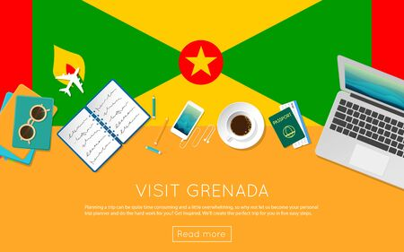 Visit Grenada concept for your web banner or print materials. Top view of a laptop, sunglasses and coffee cup on Grenada national flag. Flat style travel planninng website header. Illustration