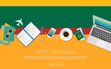 Visit Lithuania concept for your web banner or print materials. Top view of a laptop, sunglasses and coffee cup on Lithuania national flag. Flat style travel planninng website header.