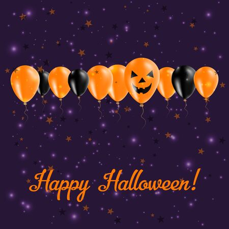 Halloween balloon greeting card black and orange colored all halloween balloons row greeting card black and orange colored all saints day poster vector m4hsunfo Gallery
