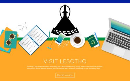 Visit Lesotho concept for your web banner or print materials. Top view of a laptop, sunglasses and coffee cup on Lesotho national flag. Flat style travel planninng website header.