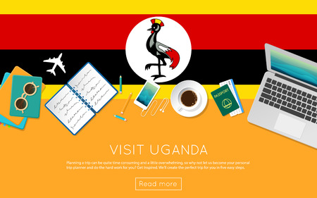 vacation with laptop: Visit Uganda concept for your web banner or print materials. Top view of a laptop, sunglasses and coffee cup on Uganda national flag. Flat style travel planninng website header. Illustration