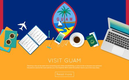 Visit Guam concept for your web banner or print materials. Top view of a laptop, sunglasses and coffee cup on Guam national flag. Flat style travel planninng website header. Illustration