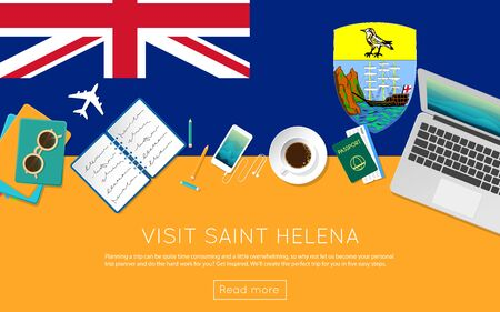 top 7: Visit Saint Helena concept for your web banner or print materials. Top view of a laptop, sunglasses and coffee cup on Saint Helena national flag. Flat style travel planninng website header.