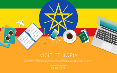 national flag ethiopia: Visit Ethiopia concept for your web banner or print materials. Top view of a laptop, sunglasses and coffee cup on Ethiopia national flag. Flat style travel planninng website header. Illustration
