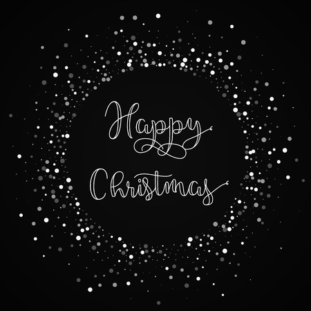Happy Christmas greeting card. Random falling white dots background. Random falling white dots on black background.great vector illustration.