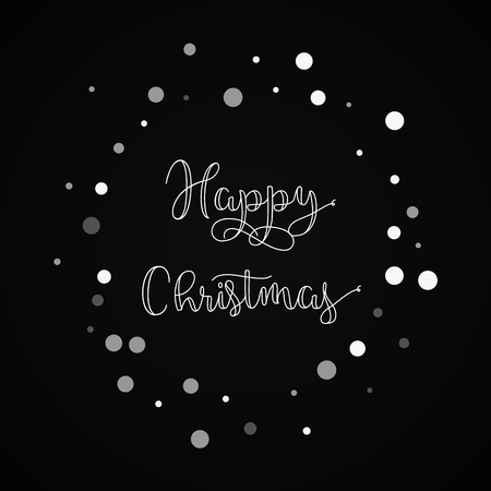 Happy Christmas greeting card. Falling white dots background. Falling white dots on black background.great vector illustration. Illustration
