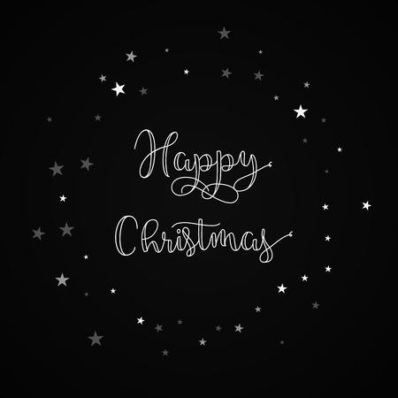 Happy Christmas greeting card. Random falling stars background. Random falling stars on black background.great vector illustration. Illustration