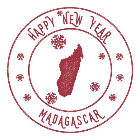 Retro Happy New Year Madagascar Stamp. Stylised rubber stamp with county map and Happy New Year text, vector illustration. 向量圖像