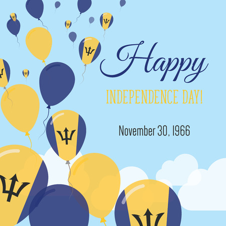 Independence Day Flat Greeting Card. Barbados Independence Day. Barbadian Flag Balloons Patriotic Poster. Happy National Day Vector Illustration. Illustration