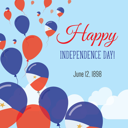 Independence Day Flat Greeting Card. Philippines Independence Day. Filipino Flag Balloons Patriotic Poster. Happy National Day Vector Illustration.