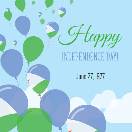 Independence Day Flat Greeting Card. Djibouti Independence Day. Djibouti Flag Balloons Patriotic Poster. Happy National Day Vector Illustration. Illustration
