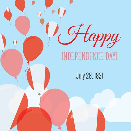 Independence Day Flat Greeting Card. Peru Independence Day. Peruvian Flag Balloons Patriotic Poster. Happy National Day Vector Illustration. Illustration