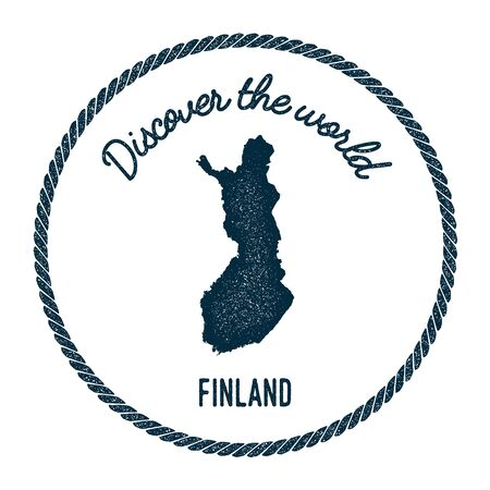 Vintage discover the world rubber stamp with Finland map. Hipster style nautical postage stamp, with round rope border. Vector illustration.