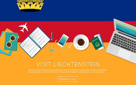 Visit Liechtenstein concept for your web banner or print materials. Top view of a laptop, sunglasses and coffee cup on Liechtenstein national flag. Flat style travel planninng website header. Banco de Imagens - 87117550