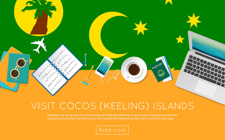 Visit Cocos (Keeling) Islands concept for your web banner or print materials. Top view of a laptop, sunglasses and coffee cup on Cocos (Keeling) Islands national flag.
