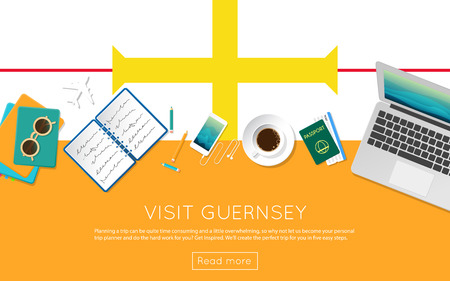 Visit Guernsey concept for your web banner or print materials. Top view of a laptop, sunglasses and coffee cup on Guernsey national flag. Flat style travel planninng website header. Illustration