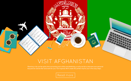 Visit Afghanistan concept for your web banner or print materials. Top view of a laptop, sunglasses and coffee cup on Afghanistan national flag. Flat style travel planninng website header. Illustration
