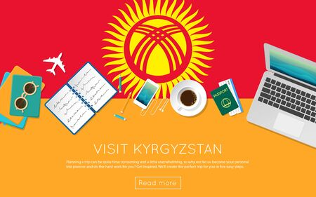 Visit Kyrgyzstan concept for your web banner or print materials. Top view of a laptop, sunglasses and coffee cup on Kyrgyzstan national flag. Flat style travel planninng website header.