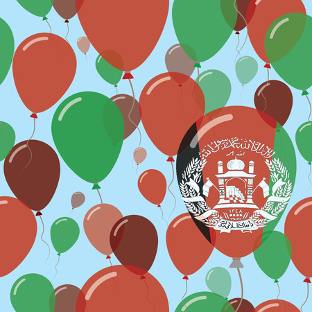 Afghanistan National Day Flat Seamless Pattern. Flying Celebration Balloons in Colors of Afghan Flag. Happy Independence Day Background with Flags and Balloons.