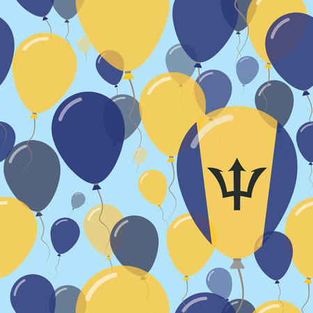 Barbados National Day Flat Seamless Pattern. Flying Celebration Balloons in Colors of Barbadian Flag. Happy Independence Day Background with Flags and Balloons.