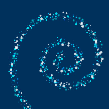 clutter: Beautiful falling snow. Spiral with beautiful falling snow on deep blue background. Vector illustration.