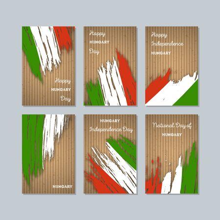 politic: Hungary Patriotic Cards for National Day. Expressive Brush Stroke in National Flag Colors on kraft paper background. Hungary Patriotic Vector Greeting Card. Illustration