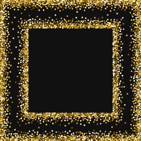 bright: Gold glitter. Square abstract frame with gold glitter on black background. Shapely Vector illustration.