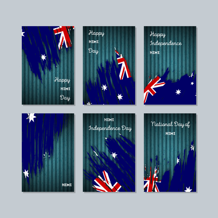 politic: HIMI Patriotic Cards for National Day. Expressive Brush Stroke in National Flag Colors on dark striped background. HIMI Patriotic Vector Greeting Card.