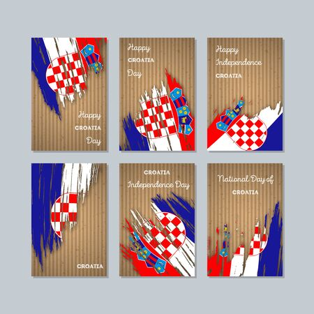 politic: Croatia Patriotic Cards for National Day. Expressive Brush Stroke in National Flag Colors on kraft paper background. Croatia Patriotic Vector Greeting Card.