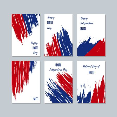 politic: Haiti Patriotic Cards for National Day. Expressive Brush Stroke in National Flag Colors on white card background. Haiti Patriotic Vector Greeting Card.