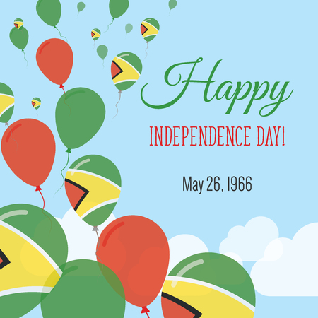 Independence Day Flat Greeting Card. Guyana Independence Day. Guyanese Flag Balloons Patriotic Poster. Happy National Day Vector Illustration.