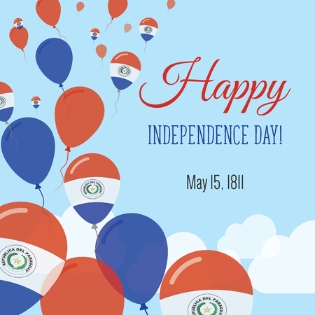 Independence Day Flat Greeting Card. Paraguay Independence Day. Paraguayan Flag Balloons Patriotic Poster. Happy National Day Vector Illustration.