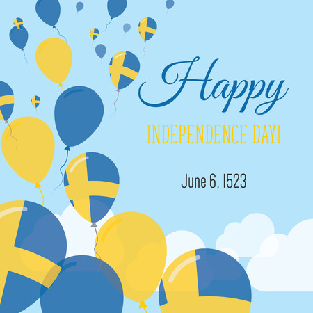 Independence Day Flat Greeting Card. Sweden Independence Day. Swedish Flag Balloons Patriotic Poster. Happy National Day Vector Illustration.