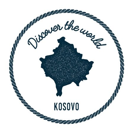 Vintage discover the world rubber stamp with Kosovo map. Hipster style nautical postage stamp, with round rope border. Vector illustration.