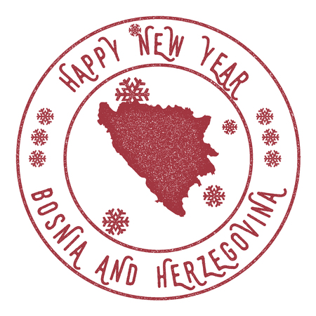 herz: Retro Happy New Year Bosnia and Herzegovina Stamp. Stylised rubber stamp with county map and Happy New Year text, vector illustration.