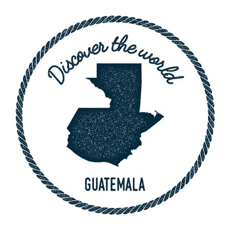 guatemalan: Vintage discover the world rubber stamp with Guatemala map. Hipster style nautical postage stamp, with round rope border. Vector illustration. Illustration
