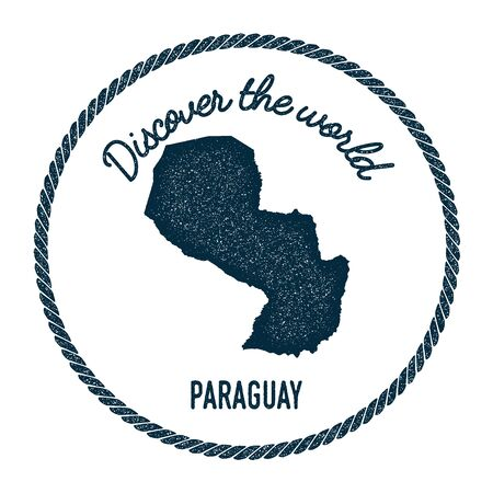 para: Vintage discover the world rubber stamp with Paraguay map. Hipster style nautical postage stamp, with round rope border. Vector illustration. Illustration