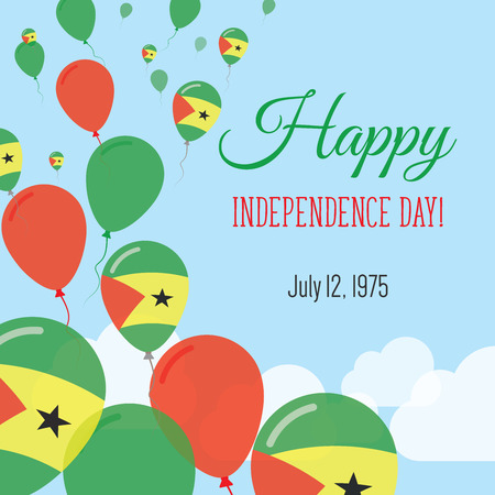 rite: Independence Day Flat Greeting Card. Sao Tome and Principe Independence Day. Sao Tomean Flag Balloons Patriotic Poster. Happy National Day Vector Illustration. Illustration