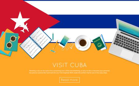 Visite el concepto de Cuba para su banner web o materiales impresos. Vista superior de una computadora portátil, gafas de sol y una taza de café en la bandera nacional de Cuba. Plana de estilo plano planninng encabezado del sitio web. Vectores