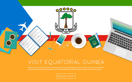 Visit Equatorial Guinea concept for your web banner or print materials. Top view of a laptop, sunglasses and coffee cup on Equatorial Guinea national flag. Flat style travel planninng website header.