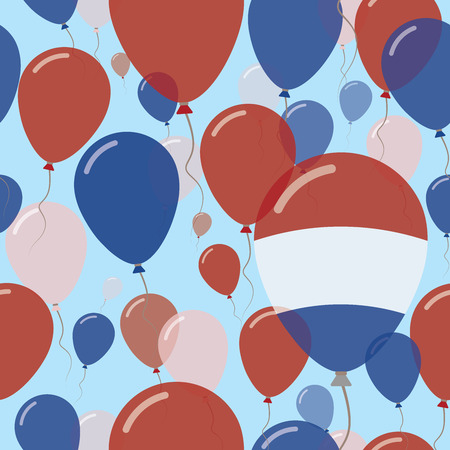 Bonaire, Sint Eustatius and Saba National Day Flat Seamless Pattern. Flying Celebration Balloons in Colors of Dutch Flag. Happy Independence Day Background with Flags and Balloons. Illustration