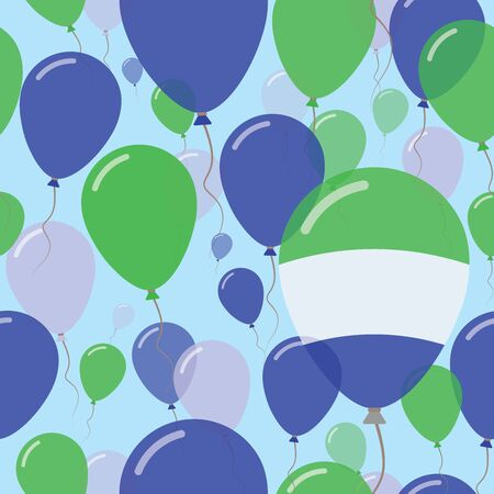 Sierra Leone National Day Flat Seamless Pattern. Flying Celebration Balloons in Colors of Sierra Leonean Flag. Happy Independence Day Background with Flags and Balloons.