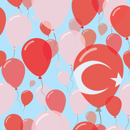 Turkey National Day Flat Seamless Pattern. Flying Celebration Balloons in Colors of Turkish Flag. Happy Independence Day Background with Flags and Balloons.