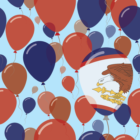 American Samoa National Day Flat Seamless Pattern. Flying Celebration Balloons in Colors of American Samoan Flag. Happy Independence Day Background with Flags and Balloons. Illustration