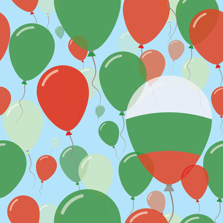 variegated: Bulgaria National Day Flat Seamless Pattern. Flying Celebration Balloons in Colors of Bulgarian Flag. Happy Independence Day Background with Flags and Balloons.