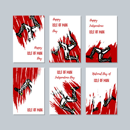 Isle of Man Patriotic Cards for National Day. Expressive Brush Stroke in National Flag Colors on white card background. Isle of Man Patriotic Vector Greeting Card.