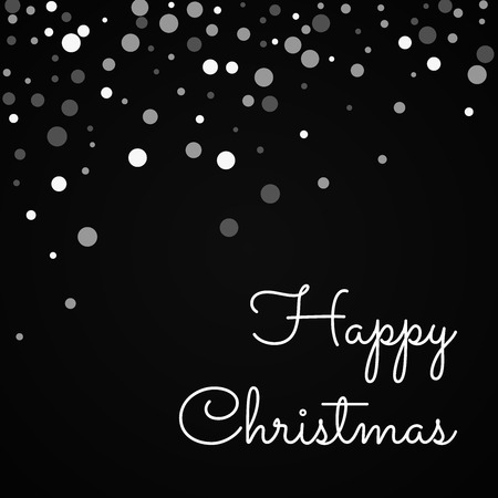 Happy Christmas greeting card. Falling white dots background. Falling white dots on black background. Gorgeous vector illustration.