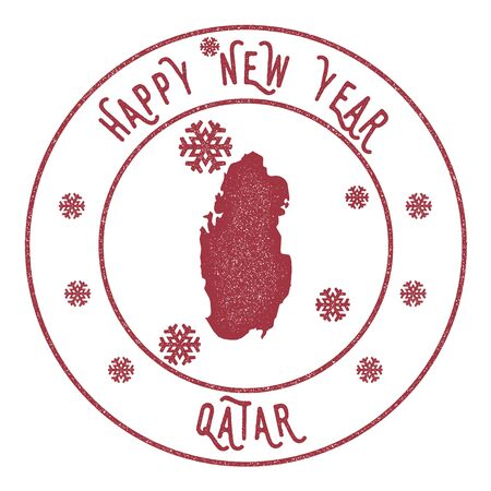 Retro Happy New Year Qatar Stamp. Stylised rubber stamp with county map and Happy New Year text, vector illustration. Illustration